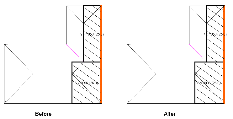 This image shows the Reduce runs feature with a before and after in AppliCad Roof Wizard https://www.applicad.com