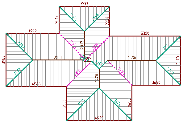 This image shows the roof line lengths in AppliCad Roof Wizard https://www.applicad.com